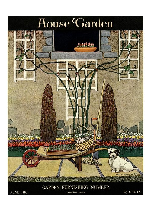 House And Garden Greeting Card featuring the photograph House And Garden Garden Furnishing Number Cover by Charles Livingston Bull