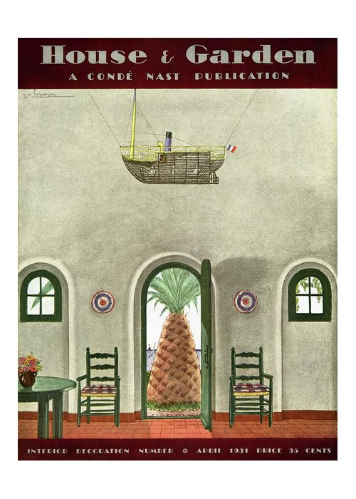 House And Garden Greeting Card featuring the photograph House And Garden Interior Decoration Number Cover by Georges Lepape