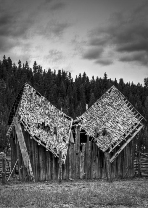 Black And White Greeting Card featuring the photograph House Broken by Ren Alber