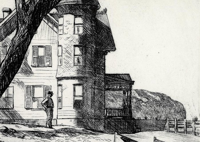Edward Hopper Greeting Card featuring the drawing House By A River by Edward Hopper