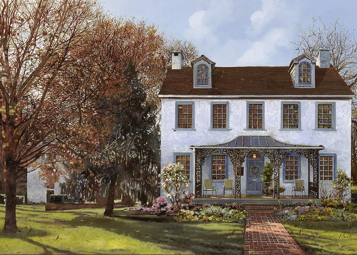Du Portail Greeting Card featuring the painting house Du Portail by Guido Borelli
