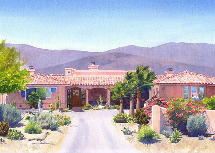 Borrego Springs Greeting Card featuring the painting House In Borrego Springs by Mary Helmreich