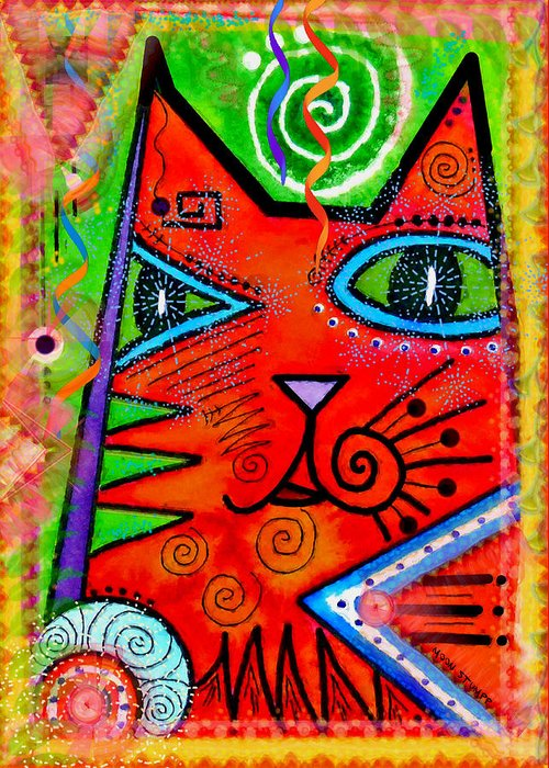 Moon Stumpp Greeting Card featuring the painting House Of Cats Series - Bops by Moon Stumpp