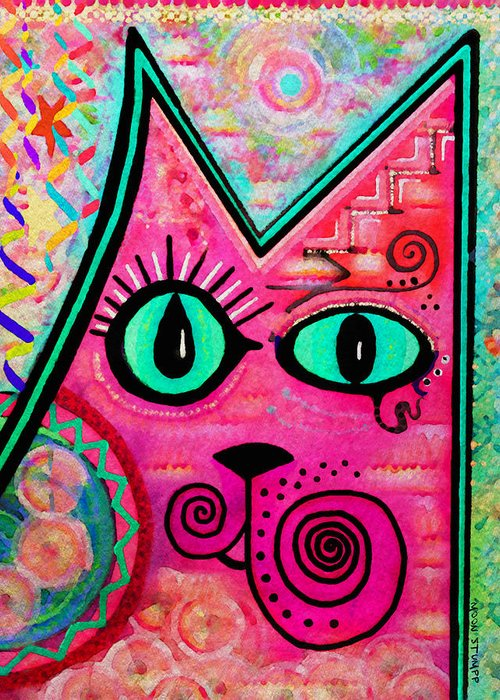 Moon Stumpp Greeting Card featuring the painting House Of Cats Series - Catty by Moon Stumpp