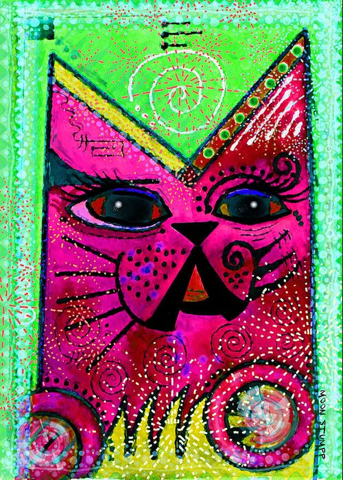 Moon Stumpp Greeting Card featuring the painting House Of Cats Series - Glitter by Moon Stumpp