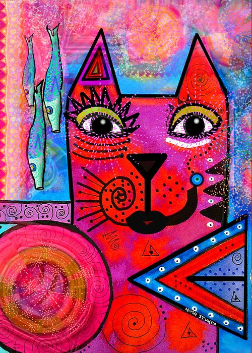 Moon Stumpp Greeting Card featuring the painting House Of Cats Series - Tally by Moon Stumpp