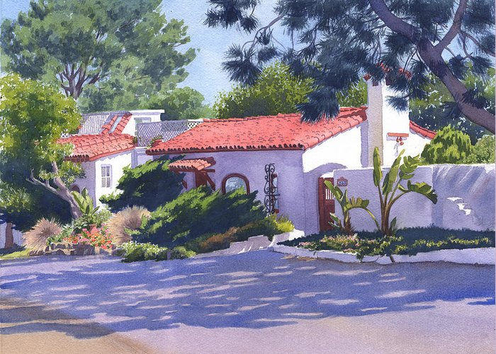 House Greeting Card featuring the painting House On Crest Del Mar by Mary Helmreich