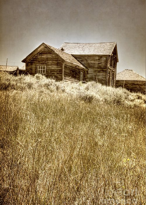 Structure; Wood; Wooden; Country; Countryside; Desert; Deserted; Hill; Worn; Abandoned; Boards; Ruins; Grasses; Hills; House; Home; Sepia; Rural; Vast; Dirt; Window; Sky; Vintage; Antique Greeting Card featuring the photograph House On The Hill by Margie Hurwich
