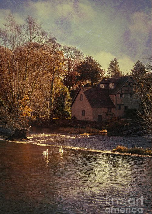 Old Greeting Card featuring the photograph House On The River by Amanda Elwell