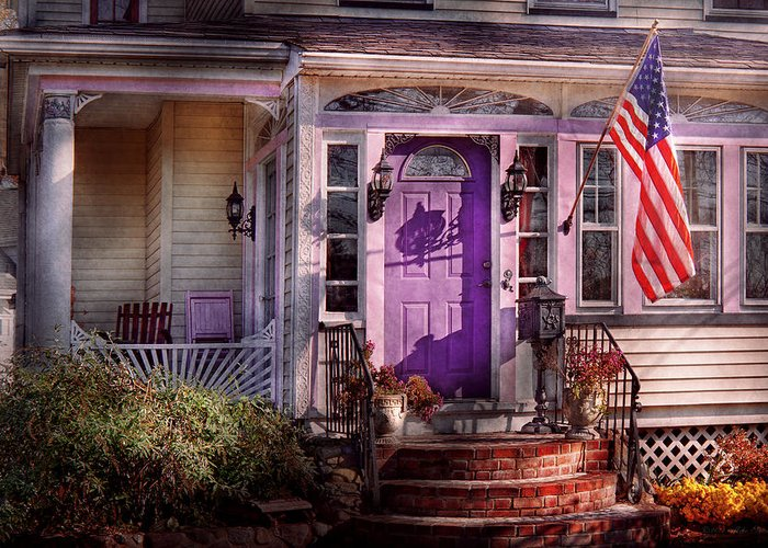 Victorian Greeting Card featuring the photograph House - Porch - Cranford Nj - Lovely In Lavender by Mike Savad