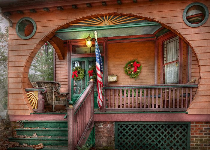 Victorian Greeting Card featuring the photograph House - Porch - Metuchen Nj - That Yule Tide Spirit by Mike Savad
