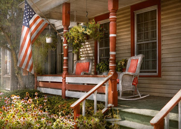 Porch Greeting Card featuring the photograph House - Porch - Traditional American by Mike Savad