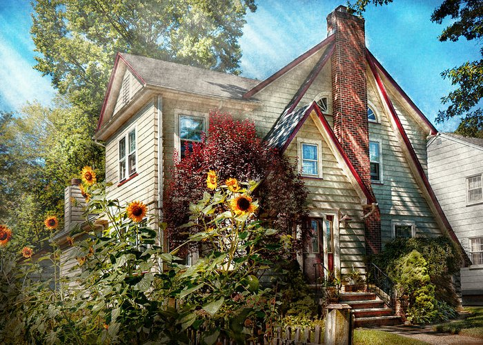 House Greeting Card featuring the photograph House - Westfield Nj - The Summer Retreat by Mike Savad