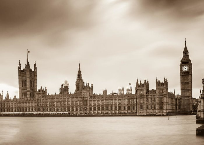 Bridge Greeting Card featuring the photograph Houses Of Parliament And Elizabeth Tower In London by Semmick Photo
