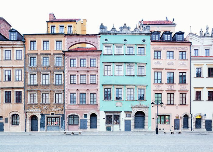 Apartment Greeting Card featuring the photograph Houses On Old Town Market Place by Jorg Greuel