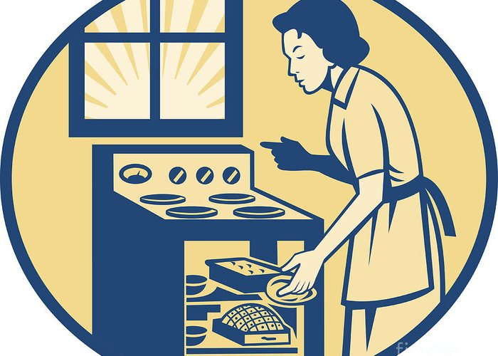 Housewife Greeting Card featuring the digital art Housewife Baker Baking In Oven Stove Retro by Aloysius Patrimonio