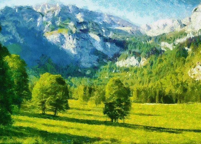 Valley Greeting Card featuring the painting How Green Was My Valley by Ayse Deniz