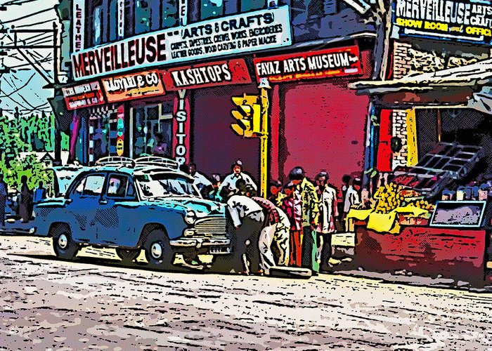 India Greeting Card featuring the photograph How To Change A Tire Comic by Steve Harrington