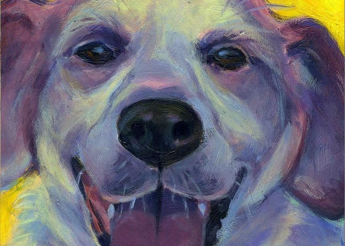 Dog Greeting Card featuring the painting Howdy by Stephanie Allison