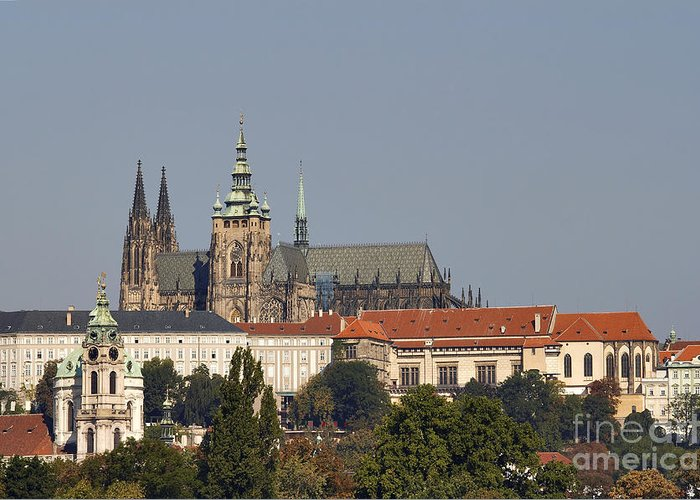 Hradcany Greeting Card featuring the photograph Hradcany - Cathedral Of St Vitus On The Prague Castle by Michal Boubin