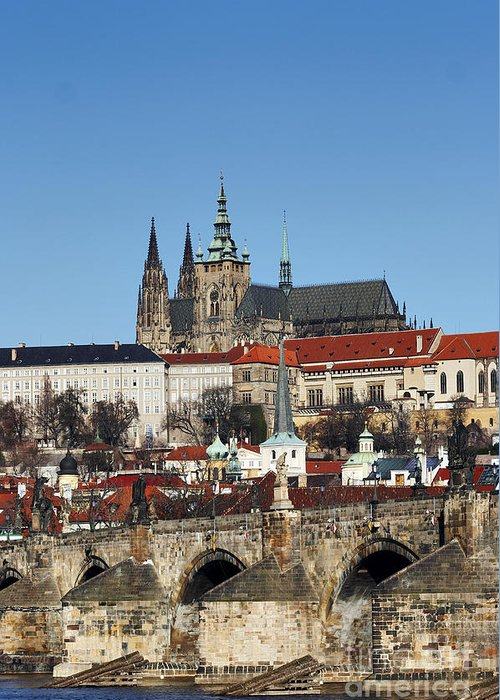 Rare Greeting Card featuring the photograph Hradcany - Prague Castle by Michal Boubin