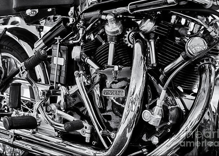 Hrd Vincent Greeting Card featuring the photograph HRD Vincent Motorcycle Engine by Tim Gainey