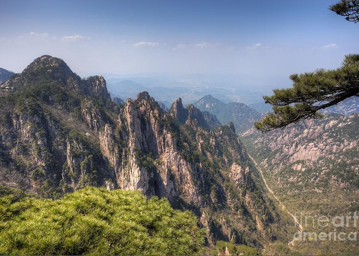 Anhui Greeting Card featuring the photograph Huangshan Mountain Chinese Famous Landscape by Fototrav Print