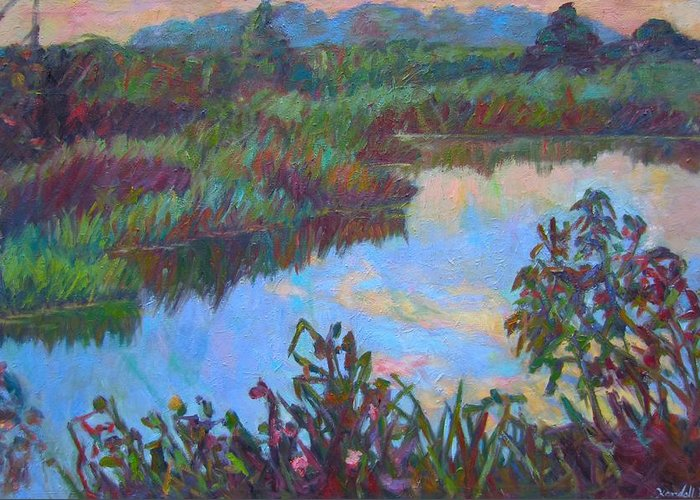 Landscape Greeting Card featuring the painting Huckleberry Line Trail Rain Pond by Kendall Kessler