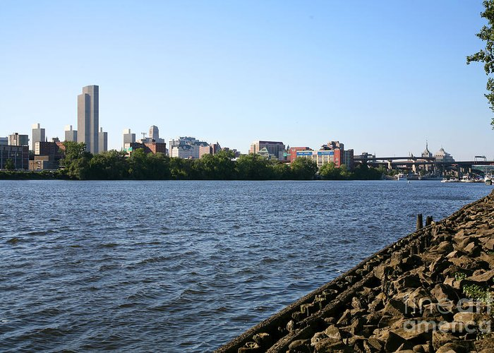 Empire State Plaza Greeting Card featuring the photograph Hudson River And Albany Skyline by Bill Cobb