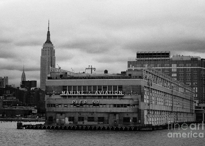 Usa Greeting Card featuring the photograph Hudson River Marine Aviation Pier 57 New York City by Joe Fox