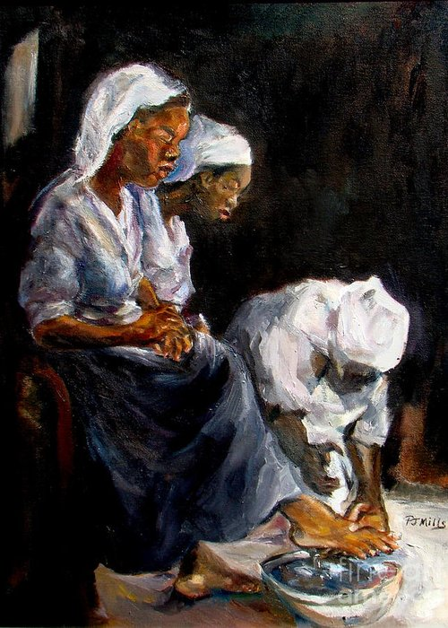 Washing Feet Greeting Card featuring the painting Humble Hands by Patrick Mills