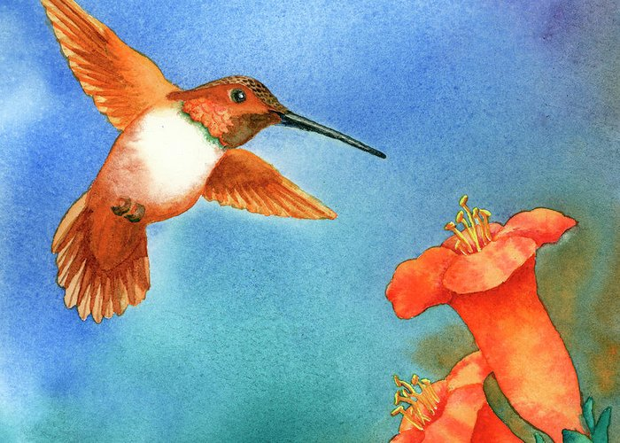 Bird Greeting Card featuring the painting Hummer by Tracy L Teeter