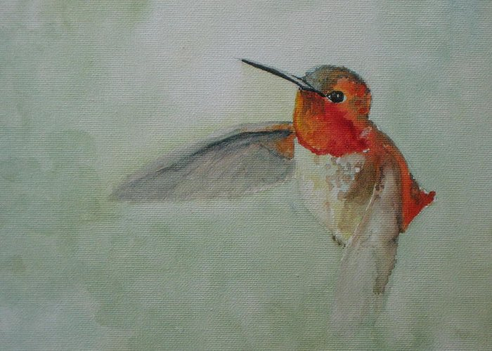 Hummingbirds Greeting Card featuring the painting Hummingbird 2 by Emy Higgins