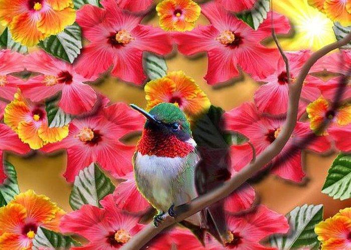 Hummingbird Greeting Card featuring the digital art Hummingbird And Hibiscus by Edmond Hogge