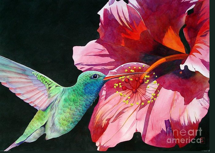 Watercolor Greeting Card featuring the painting Hummingbird And Hibiscus by Robert Hooper