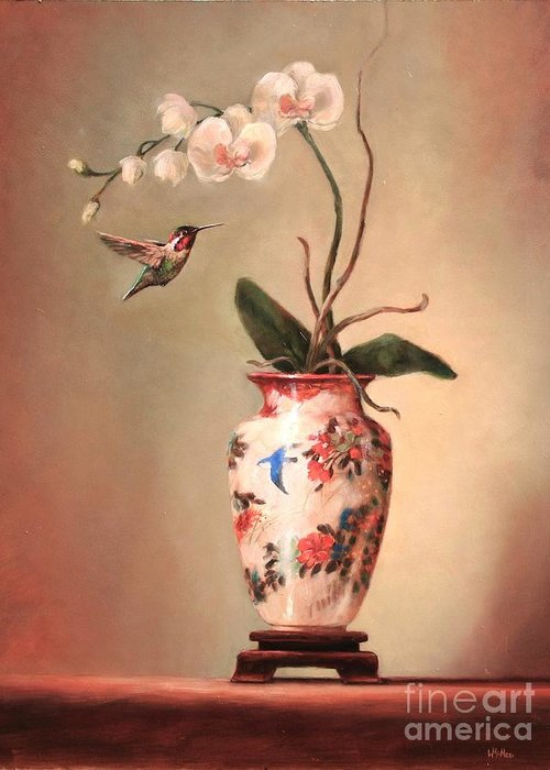 Japanese Greeting Card featuring the painting Hummingbird And White Orchid by Lori McNee