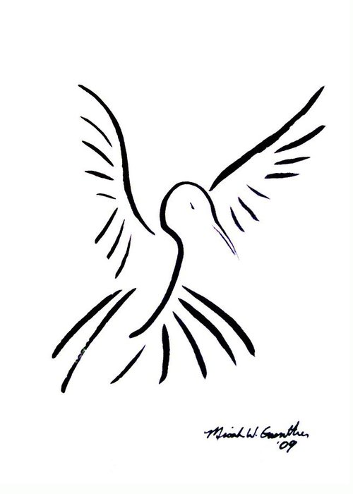 Bird Greeting Card featuring the drawing Hummingbird by Micah Guenther