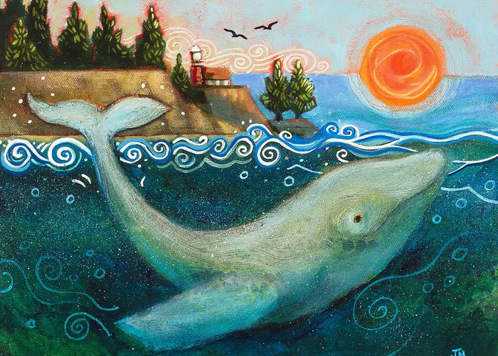 Jen Norton Greeting Card featuring the painting Humpback Whales In Santa Cruz by Jen Norton