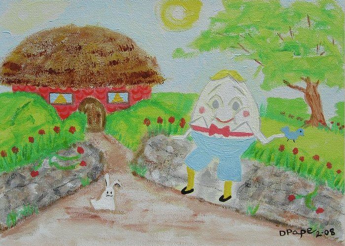 Humpty Dumpty Greeting Card featuring the painting Humpty's House by Diane Pape