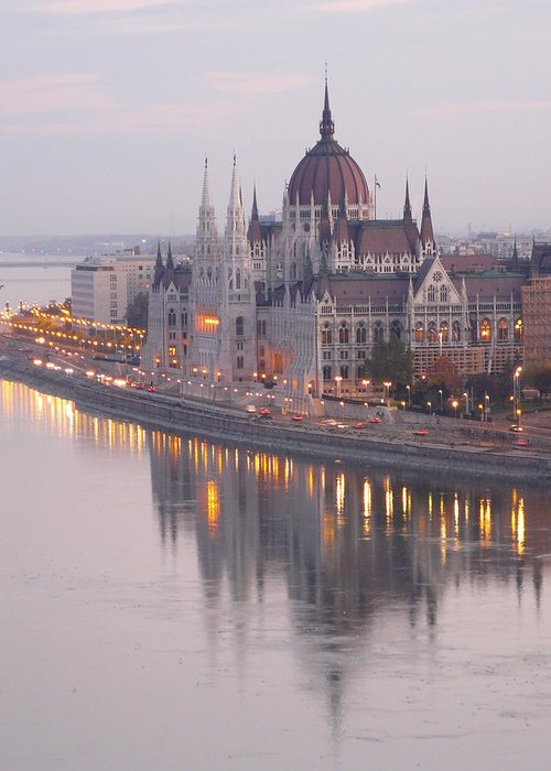 Outdoors Greeting Card featuring the photograph Hungarian Parliament At Sunrise by Ilona Nagy