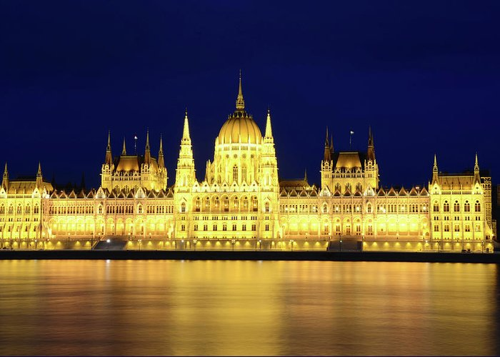 Hungarian Parliament Building Greeting Card featuring the photograph Hungarian Parliament Building, Budapest by Dragos Cosmin Photos