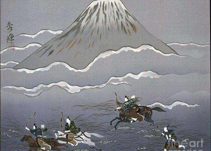 Kimonos Displayed As Art Greeting Card featuring the tapestry - textile Hunt At Mount Fuji by Miho Kanamori