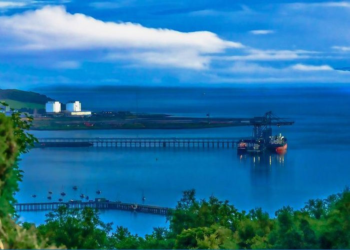 Container Terminal Greeting Card featuring the photograph Hunterston Deep Water Terminal Ayrshire by Tylie Duff