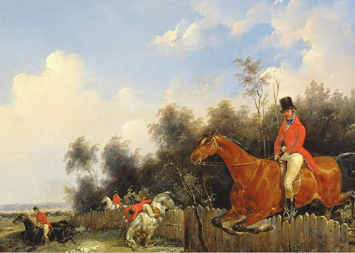 Scene De Chasse; Hunter; Hunters; Huntsman; Hunt; Riding; Horse; Rider; Outfit; Jumping; Fence; Landscape Greeting Card featuring the painting Hunting Scene by Bernard Edouard Swebach