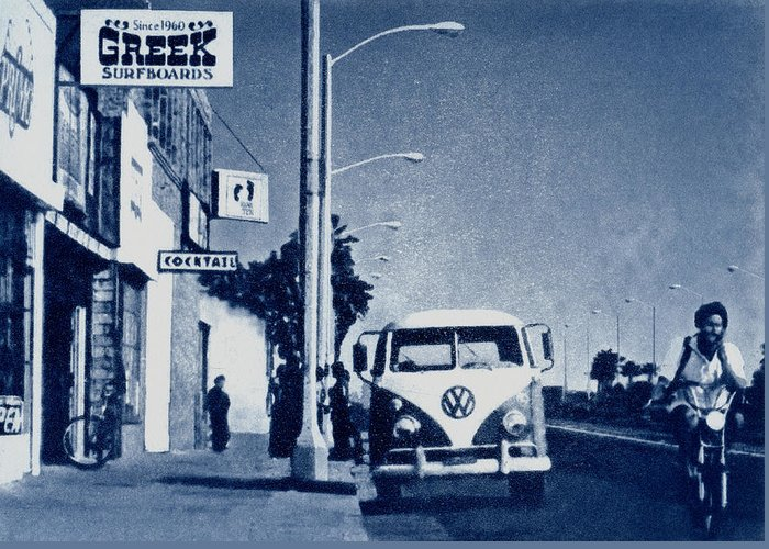 Beach Greeting Card featuring the mixed media Huntington Beach 1976 by Philip Fleischer