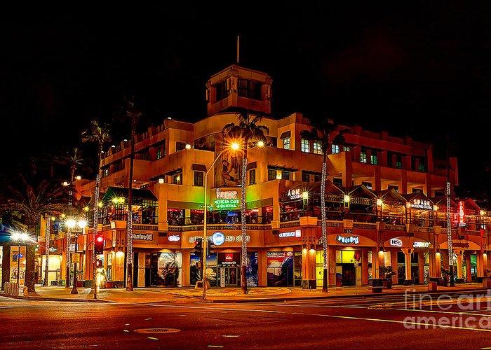 Huntington Beach Greeting Card featuring the photograph Huntington Beach Downtown Nightside 1 by Jim Carrell