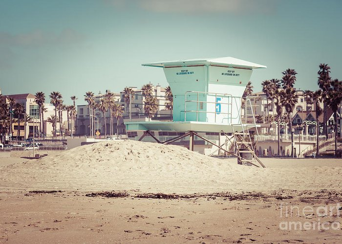 1950s Greeting Card featuring the photograph Huntington Beach Lifeguard Tower #5 Retro Picture by Paul Velgos