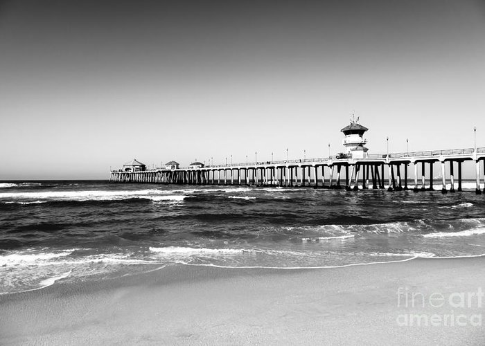 America Greeting Card featuring the photograph Huntington Beach Pier Black And White Picture by Paul Velgos