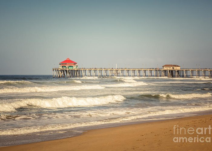 America Greeting Card featuring the photograph Huntington Beach Pier Retro Toned Photo by Paul Velgos