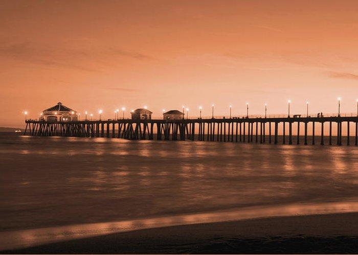 Huntington Beach Greeting Card featuring the photograph Huntington Beach Pier - Twilight Sepia by Jim Carrell